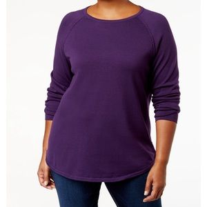 Karen Scott Purple Round-Hem Sweater.
